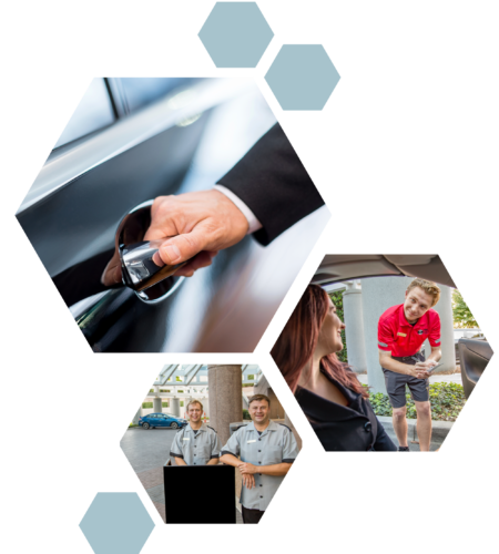Various Photos of Valet Service in Polygons. Photos include a hand opening a car door, a valet service man writing down a customer's information, and two valet men waiting at a booth and smiling at the camera.
